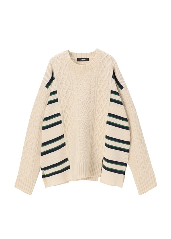 <先行予約> ネ・ネット / pickable stripe cable knit / セーター