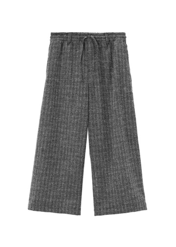 Wool Check Drawstring Pants