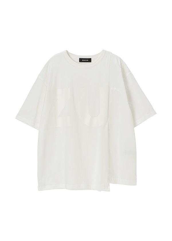 ZUCCa / メンズ コントラストロゴT / Tシャツ 白