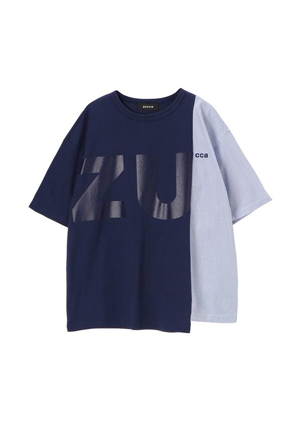 ZUCCa / メンズ コントラストロゴT / Tシャツ ネイビー