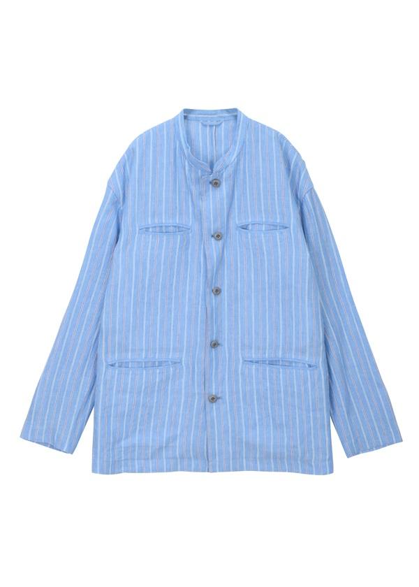 【SALE】ZUCCa / (O) メンズ リネンストライプ / ジャケット ブルー