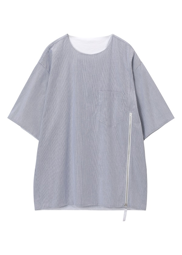 【SALE】ZUCCa / (O) メンズ ファスナーシャツ / プルオーバー ライトブルー