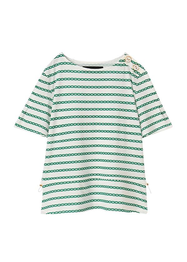 メルシーボークー、 / しまチェーン / カットソー・Tシャツ 白