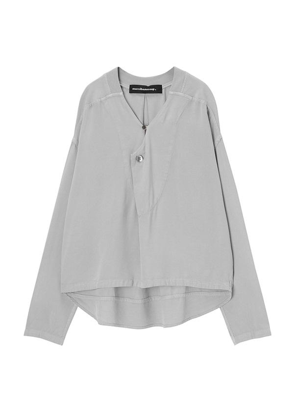 メルシーボークー、 / S : ムジシャツ / ブラウス シルバーグレー