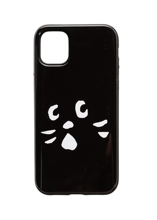 にゃー / アップにゃーミラーPhoneケース / スマホケース 黒