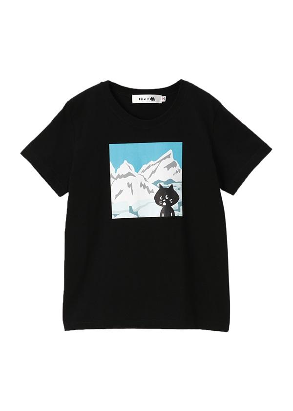にゃー / にゃーはたびがすきT やま / Tシャツ 黒