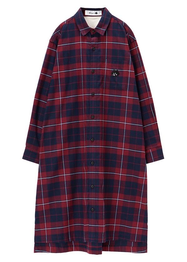にゃー / にゃーチェックシャツ / シャツワンピース 濃赤 / ワイン