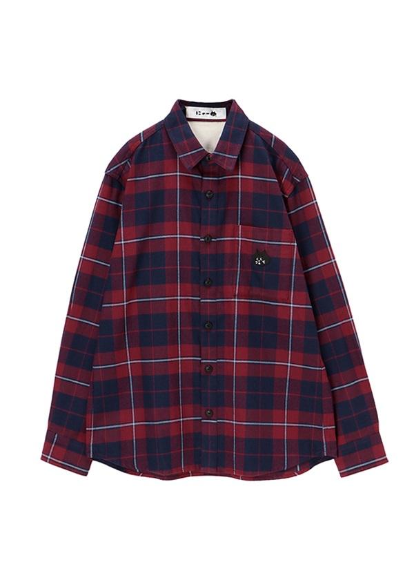 にゃー / にゃーチェックシャツ / シャツ 濃赤 / ワイン