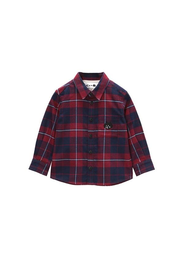 にゃー / キッズ にゃーチェックシャツ / シャツ 濃赤 / ワイン