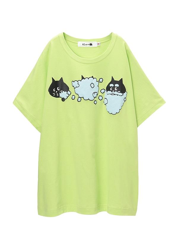 にゃー / バブルにゃー T / Tシャツ ライトグリーン