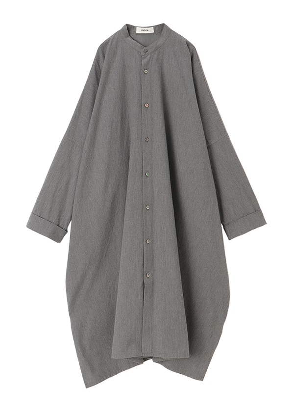 ZUCCa / コットンツイルシャツ / ワンピース グレー