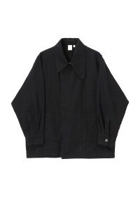 Asymmetry collar semi double jacket