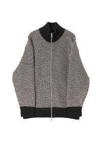 Bi Color Zip Up Knit