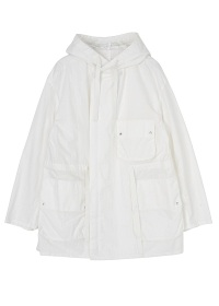 (O) cotton nylon hooded blouson